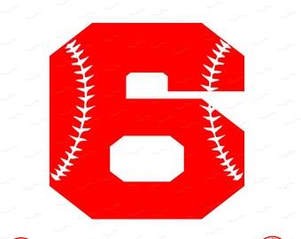 Digital Cut File, Monogram Baseball Numbers, Number 6, 6, Softball, Vinyl Cutting File, Baseball, SVG, DXF, EPS, Silhouette, Cricut