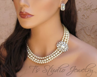 Offset Pearl Bridal Necklace Multi 3 Strand Rhinestone Brooch with White or Ivory Pearls Wedding Jewelry - ANITA
