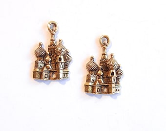 Pair of Gold-tone Pewter St. Peters Cathedral in Moscow Charms Travel