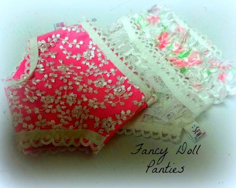 Doll fancy panties 18 inch  15 inch doll underwear 3 pair  Lace,flowers ,ruffles ,Delicates