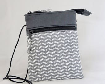 Gray Chevron Crossbody Purse with Zippered Pocket and Slip Pockets