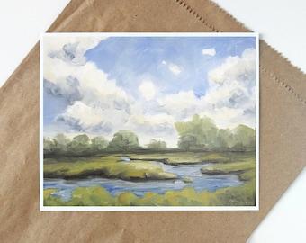 Landscape Print, Landscape Painting, Nature Print, Seascape Painting, Sky Print, Landscape Wall Art, Landscape Oil Painting, Marsh Painting