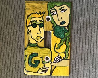 G Light Switch Plate Hand Painted Green