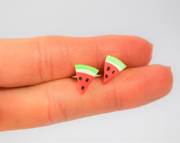 Watermelon studs earrings, Summer stud earrings, Cute earrings, Food miniatures, Children studs earrings, Food miniature, Fruit miniatures