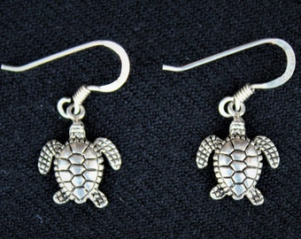 Vintage Sterling Silver HAWAIIAN  HONU Sea Turtle Earrings
