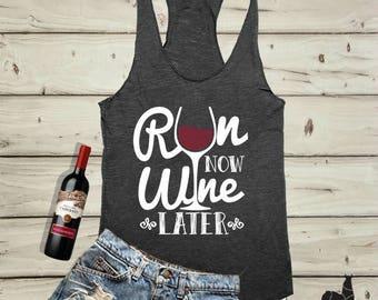 Run Now Wine Later, Tank Top, Black, Workout Clothing, running Tanks, Gym Tank, marathon, Runners Tank Top, Workout Shirt, Fitness Tank top
