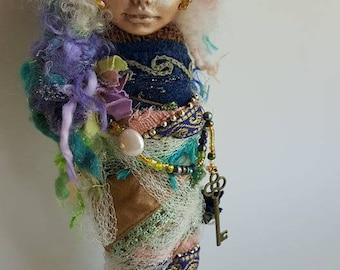 Vintage Lace, Burlap,  Fairy Queen, Spirit Art doll, ooak Art Doll, Shabby shic, kitchen goddess, bridal shower gift, wedding gift