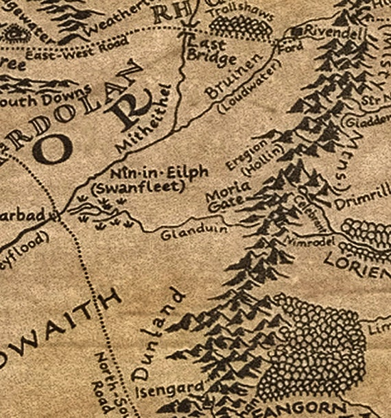 Middle Earth poster Tolkien map Middle Earth Map Lord Of