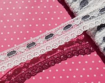 Antique Lace Vintage Lace Valenciennes Lace with Black