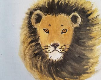 Lion original watercolors painting on acid free paper 6x6 inches