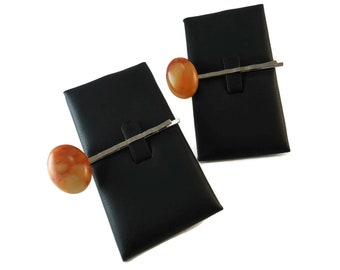 Set of Two Orange Stone Bobby Pins, Marbled Orange Natural Gemstone Hair Pin Silver Finished Steel, Oval Stone Cabochon Hair Accessory Set