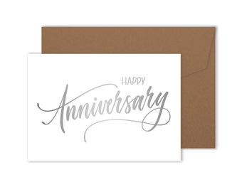 Happy Anniversary Card - Hand Made Foiled