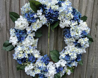 Everyday Wreath, Blue and White Hydrangea Wreath, Spring Wreath, Summer Wreath, Door Wreath, Front Door Wreath, Hydrangea Wreath