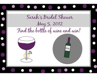 48 Personalized Bridal Shower Scratch Off Game Cards - Wine and Ring - Purples