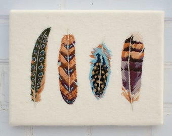 Four Painterly Feathers Hand Embroidery Pattern pdf instant download digital pattern