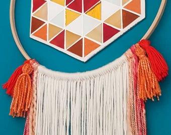 Mosaic wall art, yarn wall hanging, stained glass wall art, Scandinavian design, folk art, bohemian design, Geometric mosaic, textile art