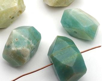 5 pcs faceted chunky amazonite beads, freeform, side drilled semiprecious stone, average size 24mm