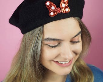 Minnie Mouse Bow Inspired Beret