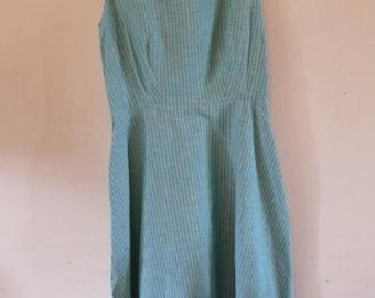 90's blue striped cotton dress
