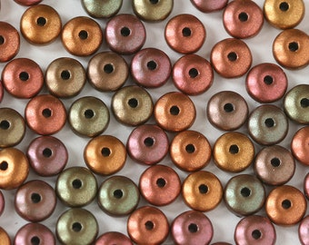 4mm Rondelle Beads - 4mm Spacer Disk Beads - Jewelry Making Supply - Smooth Rondelle - Silky Bronze Iris Matte Saucer Beads - CHOOSE AMOUNT