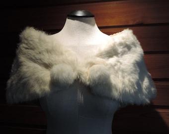 Vintage Fur Stole,Vintage Fur Shawl,Vintage Rabbit Fur Shawl,Half Cape, Vintage Half Cape,Vintage Rabbit Fur,