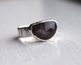 Sapphire Bark Ring, sterling silver, natural sapphire