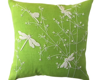 Dragonflies & Waterplantains cushion, white on lime green linen