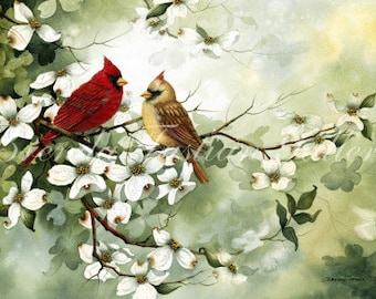 SPRINGTIME AFFECTION watercolor painting