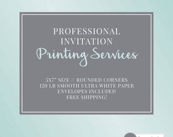"""Invitation Printing Service   5x7""""   Includes Envelopes   Free Shipping"""