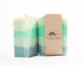Four Leaf Clover Soap-Handmade Soap-Cold Process Soap-Green Soap