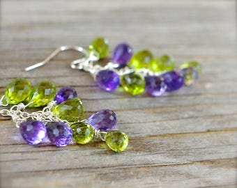 Peridot & amethyst earrings. Sterling silver peridot earrings. Green lavenger gemstone briolette cluster cascade earrings - MADE TO ORDER.