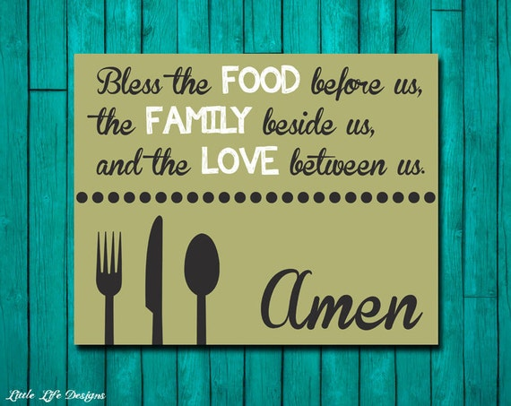 Dinner Blessing Bless The Food Family Blessings Wall Decor