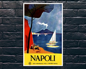 Napoli Italy Travel Poster, Italy Travel Print, Italy Wall Art, Quality Poster, Vintage Travel Poster