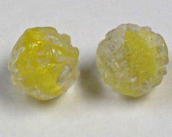 VINTAGE Czech GLASS YELLOW Givre Beads 10mm pkg2 gl633A