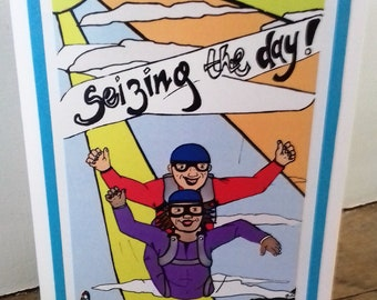 Sky diving/ extreme sports blank greetings card. Great for any occasion esp birthday (18th, 16th, 21st, 30th, 40th, 50th) graduation, exams