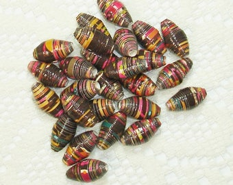 Paper Beads, Loose Handmade Jewelry Supplies Barrel Whimsy Design on Brown