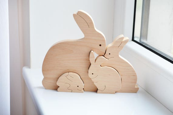 Easter kids gifts bunny rabbit family wooden bunny puzzle like this item negle Gallery