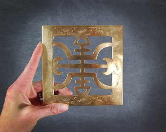 Etched Brass Trivet Vintage Chinese Brass Trivet Asian Chinoiserie Trivet