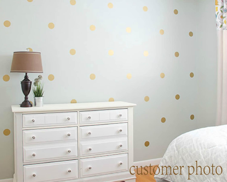 Gold Polka Dots Wall Decal Gold Polka Dot Decal Metallic