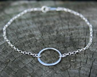 Karma circle bracelet. Delicate sterling silver eternity ring bracelet. Friendship bracelet, bridesmaid gift