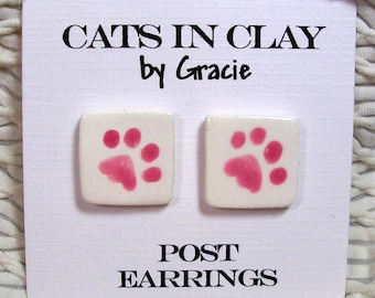 Pink Paw Print Post Earrings In Clay Handmade by Grace M. Smith