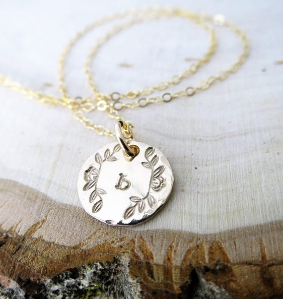 Gold Monogram Necklace / Gold Disc Necklace / Gold Initial Necklace / Gold Letter Necklace / Magnolia Necklace / Typewriter Initial