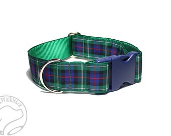 """MacKenzie Tartan Dog Collar / 1.5"""" (38mm) Wide / Plaid Dog Collar / Quick Release or Martingale Dog Collar / Choice of collar style and size"""