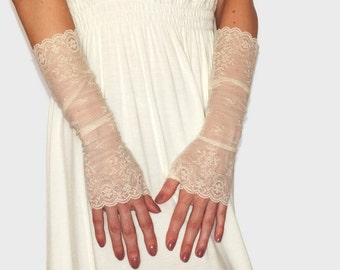 Long lace gloves, Ivory lace gloves, Wedding long gloves, Bridal lace gloves, Fingerless Gloves, Ivory lace gloves