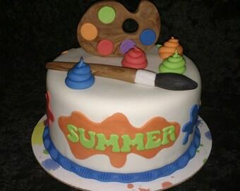 Artist Painting 11 pc Fondant Cake Topper Set