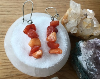 Tangerine Quartz Small Dangle Earrings
