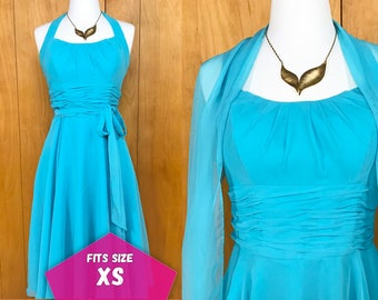 60s Vintage Prom Party Dress Midi Halter Top Formal Dress Teal with Shawl  ~ XS
