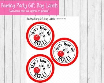 Bowling Party Printable Gift Tags  PRINTABLE Bowling Birthday PRINTABLE  Bowling Party Tags  Bowling Party Favors  That's How We Roll