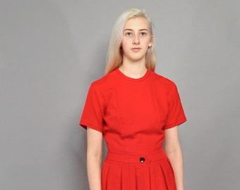 Vintage 1950's Red Dress // Saddle Stitch Details // Cari-Lu Dresses / S M