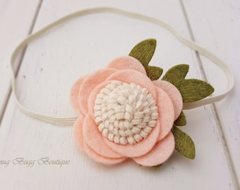 New Peach Felt Flower Headband, Little Girl Headband, Flower Hair Clip, New Born Headband, Infant Headband, Children Hair Accessories